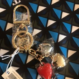 Authentic Tory Burch lots of hearts key fob